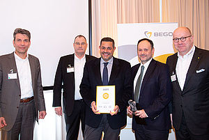 Mr. Sakis Samloglu, Owner of ESTETIKA Ltd. and Mr. Costas Christopoulos, General Manager are delighted to receive the Wilhelm-Herbst-Award for the best sales performance for BEGO Dental in 2019