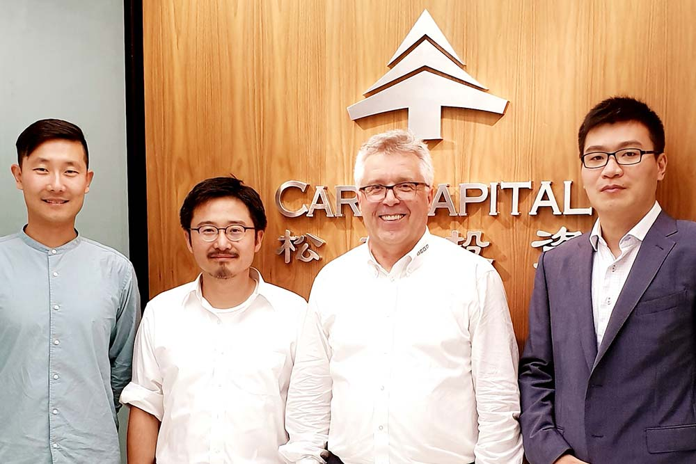 V.l.n.r.: Jian Guan (BEGO Implant Systems), Dai Feng, (Care Capital Advisors); Walter Esinger (BEGO Implant Systems), Dr. Chen Guang, (Care Capital Advisors)